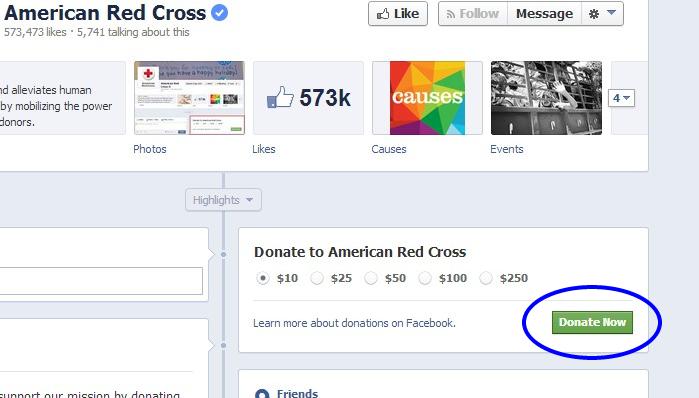 Botón donar en Facebook