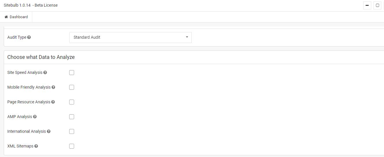 Sitebulb agregar proyecto analyze