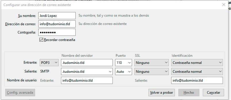 Pantalla de configuración manual de un correo electrónico en Thunderbird