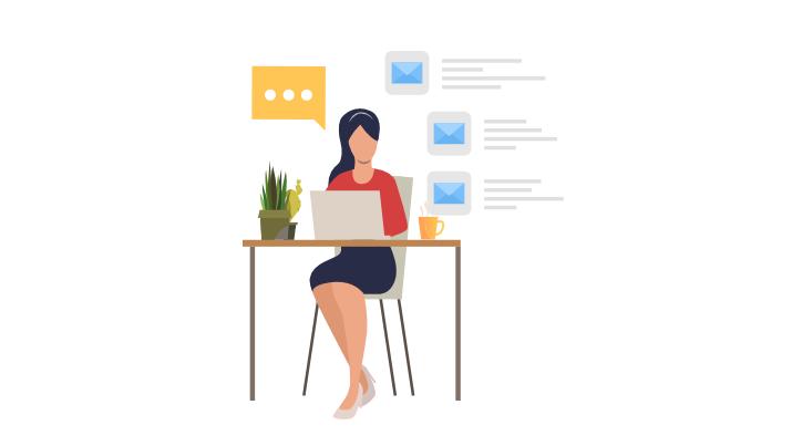 ilustración de una persona realizando envíos de campañas para email marketing