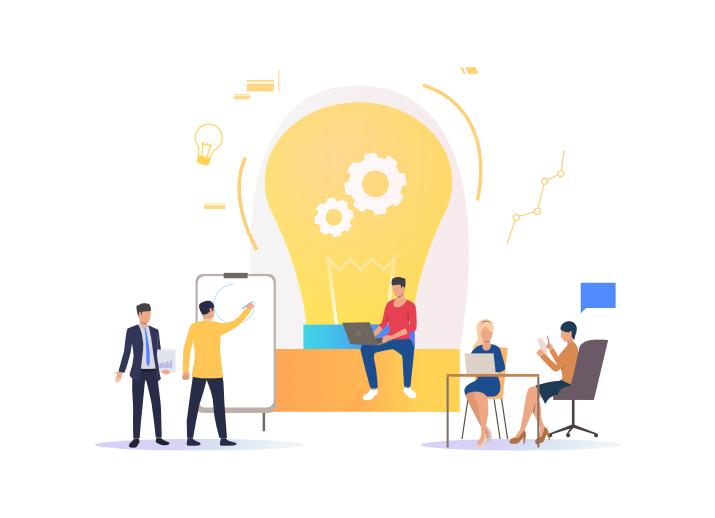 infografía que describe la composición de una idea en un equipo de marketing