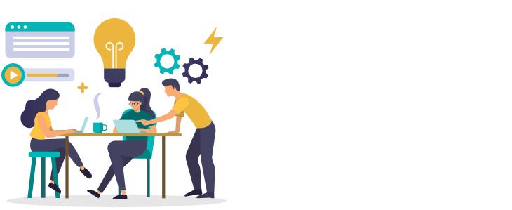 Ilustración equipo haciendo la estrategia UX