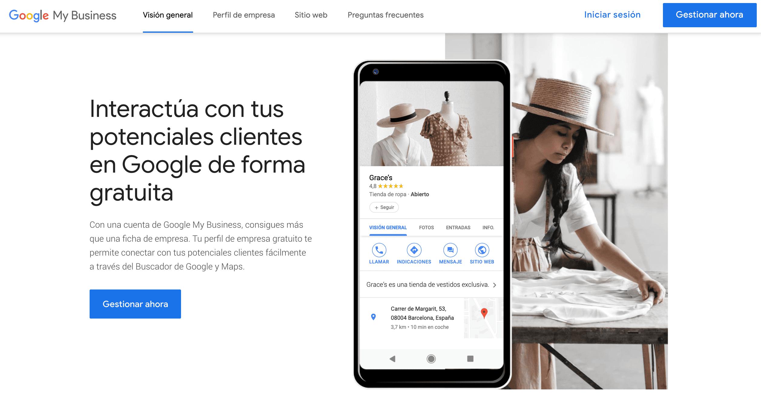 captura de imagen plataforma google my business