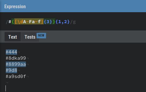 Ejemplo expresión regular para códigos css hexadecimales