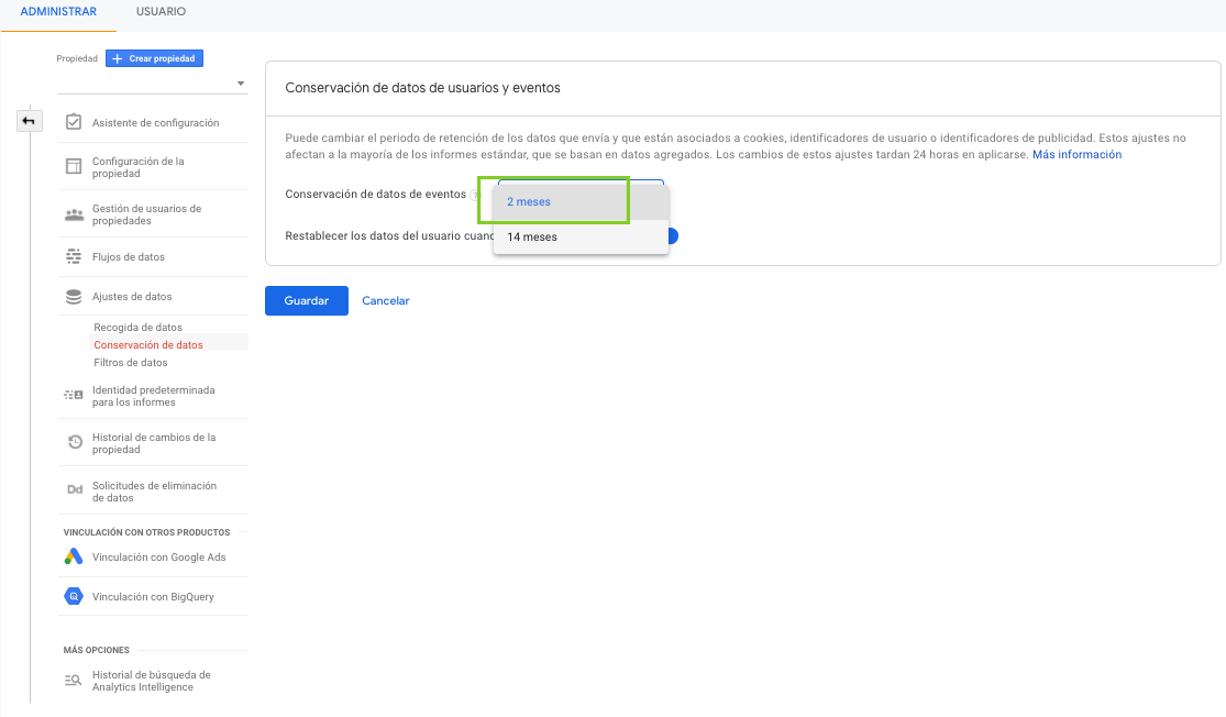 Imagen guia configurar google analytics 4 - parte 11