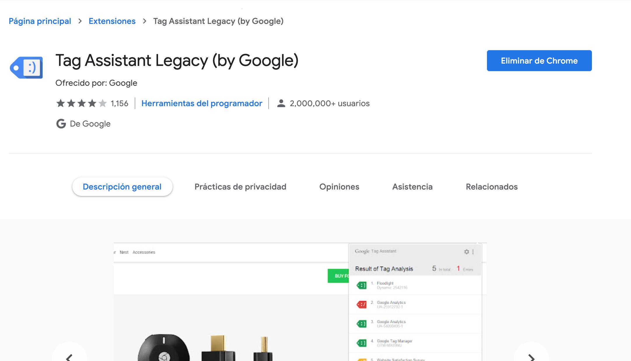 imagen de la extensión tag assistant legacy