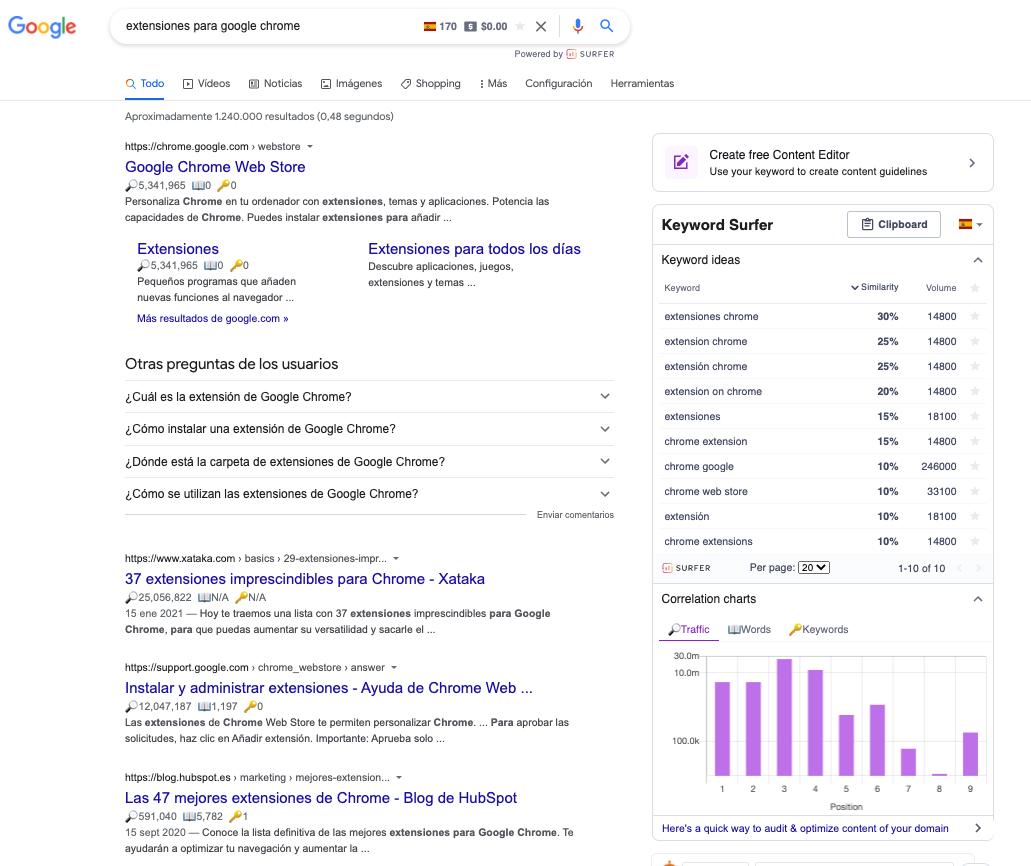 imagen búsqueda google y extension activa