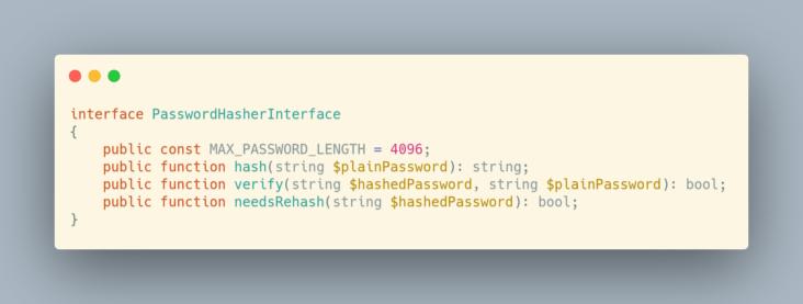 PasswordHasherInterface