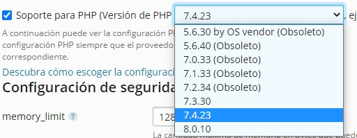 Versiones php obsoletas